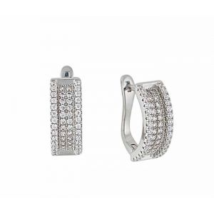 Four Row Cubic Zirconia Silver Hoop Earrings 18mm