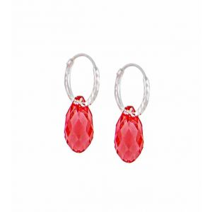 Swarovski Padparadscha Teardrop Silver Hoop Earrings - 12mm