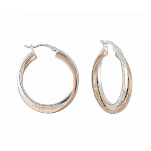 Two tone Cross Over Thick Silver Hoop Earrings - 30mm