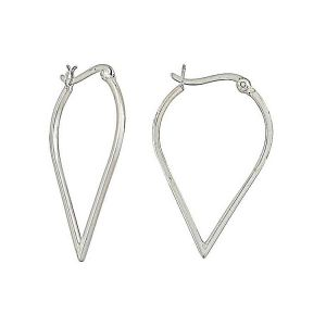 Curved Heart Silver Hooped Earrings