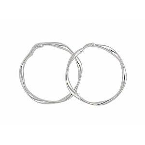 Round Twist Silver Hoop Earrings - 45mm