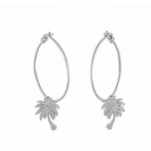 Palm Tree Silver Hoop Earrings