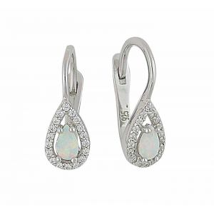 Teardrop White Opal and Cubic Zirconia Earrings