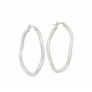 Wave Design Silver Hoop Earrings