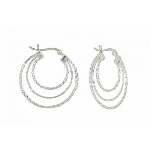 Plain and Textured Triple Circle Silver Hoop Earrings