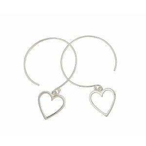 Open Heart Charm Large Hoop Earrings