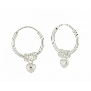 Heart Charm and Silver Ring Small Hoops
