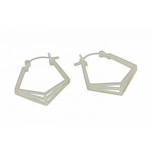 Pentagon Silver Hoop Earrings