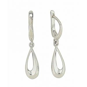 Cut-out Teardrop Silver Hoop Earrings