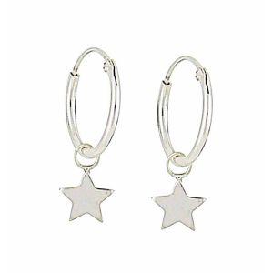 Star Charm Small Silver Hoop Earrings