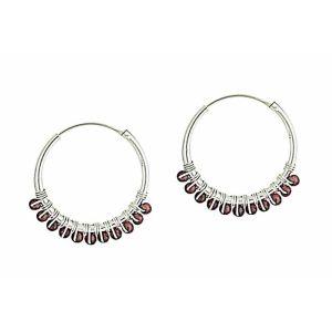 Garnet Beaded Silver Hoop Earrings