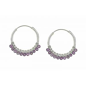Amethyst Beaded Silver Hoop Earrings