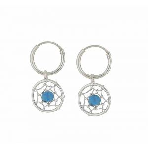 Turquoise Web Hoop Drop Earrings