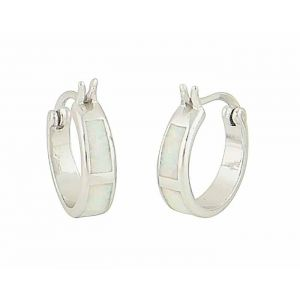 White Opal Sectional Hoop Earrings
