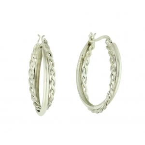Weave Combination Silver Hoop Earrings
