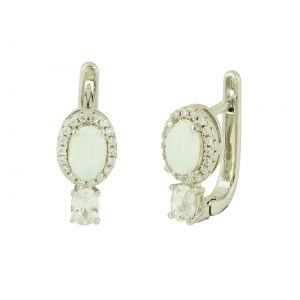 White Opal Droplet Hoop Earrings