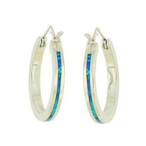 Blue Opal Shaft Silver Hoops - 24mm