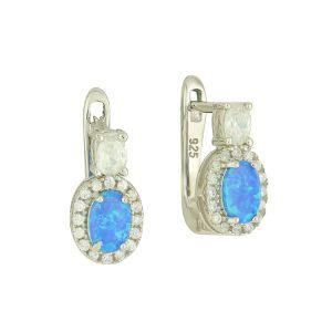 Blue Opal Droplet Hoop Earrings