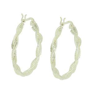 Interlocked Silver Creole Earrings