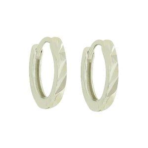 Diamond Cut Tiny Silver Hoops
