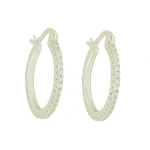 Glamour Bedecked Silver Hoop Earrings