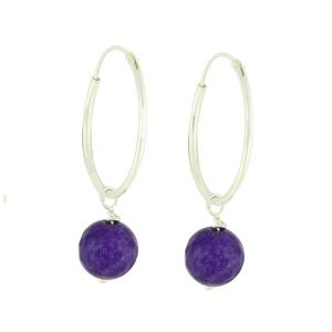 Amethyst Beaded Silver Hoops