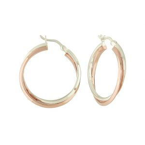 Rose Gold Plated Cross Over Thick Silver Hoop Earrings - 27mm