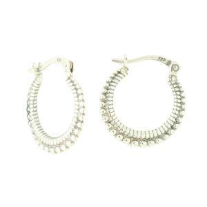 Silver Twin Texture Hooped Earrings