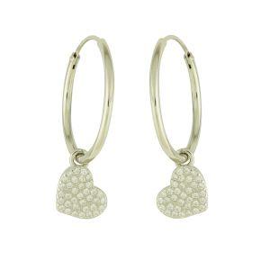 Shimmer Heart Silver Hoop Earrings