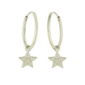 Shimmer Star Silver Hoop Earrings