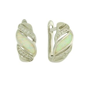 White Opal Glamour Clasp Earrings