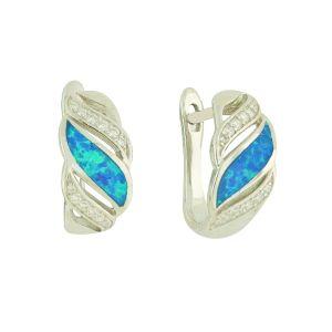 Blue Opal Glamour Clasp Earrings
