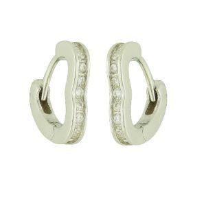 Sparkle Heart Huggie Earrings
