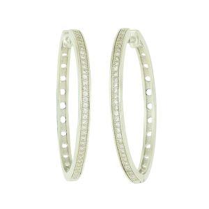 Cubic Zirconia Slender Hoop Earrings - 20mm