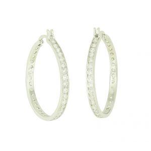 Cubic Zirconia Slender Hoop Earrings - 30mm
