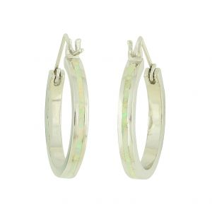 White Opal Shaft Silver Hoops