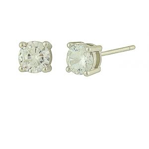 Solitaire Cubic Zirconia Silver Studs