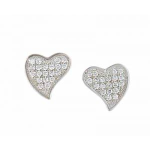 Cubic Zirconia Encrusted Curved Silver Heart Earrings