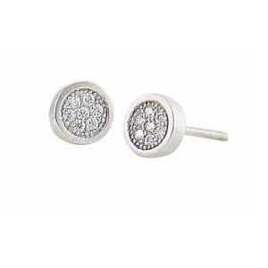 Cubic Zirconia Encrusted Circle Silver Stud Earrings