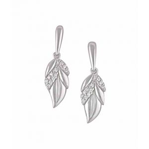 Cubic Zirconia Silver Leaf Earrings