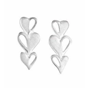 Triple Heart Silver Stud Earrings