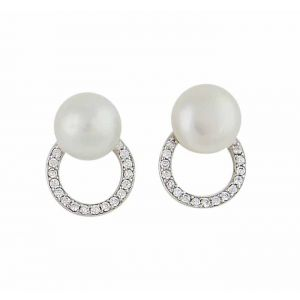 Freshwater Pearl and CZ Circle Stud Earrings