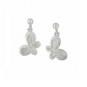 Textured Design Butterfly Silver Earrings