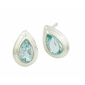 Blue Topaz Small Silver Stud Earrings