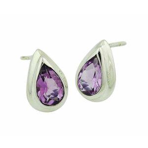 Amethyst  Small Silver Stud Earrings