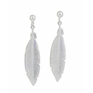Silver Feather Long Drop Earrings