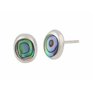 Oval Abalone Silver Stud Earrings