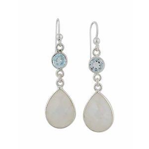 Sky Blue Topaz and Moonstone Teardrop Silver Earrings