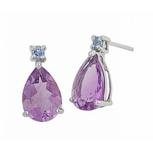 Amethyst and Swiss Blue Topaz Teardrop Stud Earrings