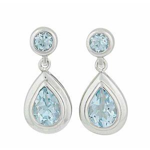 Teardrop Sky Blue Topaz Silver Earrings